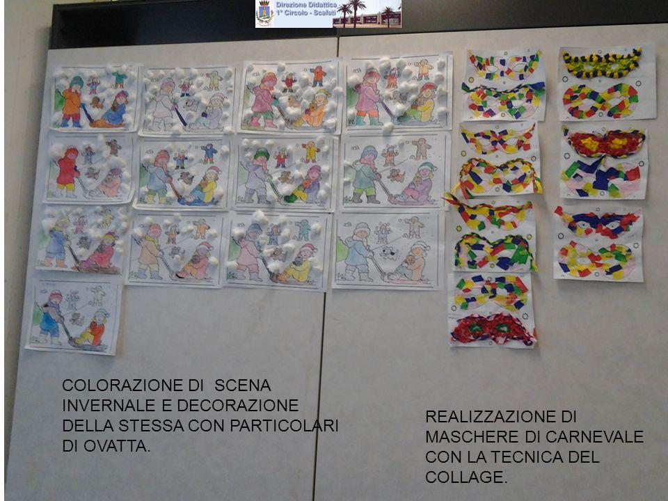 COLORAZIONE DI SCENA INVERNALE E DECORAZIONE DELLA STESSA CON PARTICOLARI DI OVATTA.