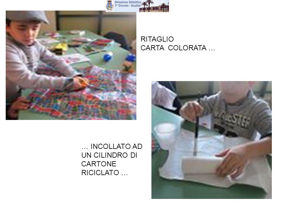 RITAGLIO CARTA COLORATA … … INCOLLATO AD UN CILINDRO DI CARTONE RICICLATO …