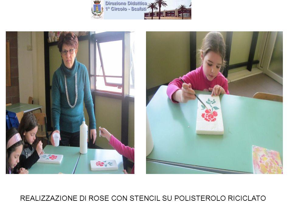 REALIZZAZIONE DI ROSE CON STENCIL SU POLISTEROLO RICICLATO
