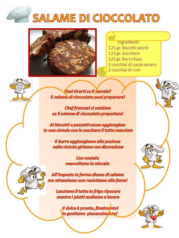 SALAME DI CIOCCOLATO Ingredienti: 125 gr. Biscotti secchi