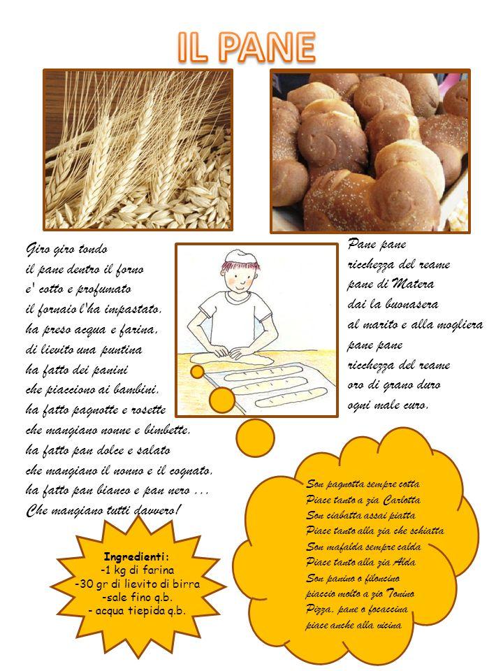 IL PANE Pane pane. ricchezza del reame pane di Matera. dai la buonasera al marito e alla mogliera pane pane.