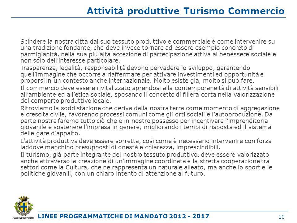 Attività produttive Turismo Commercio