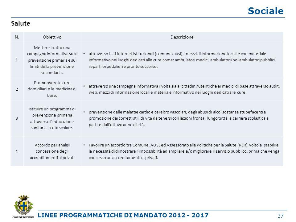 Sociale Salute N. Obiettivo Descrizione 1