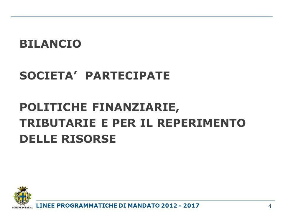 BILANCIO SOCIETA' PARTECIPATE POLITICHE FINANZIARIE, TRIBUTARIE E PER IL REPERIMENTO DELLE RISORSE