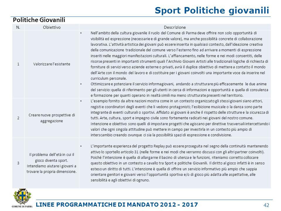 Sport Politiche giovanili
