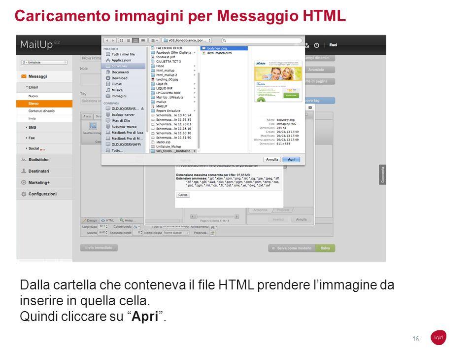 Caricamento immagini per Messaggio HTML