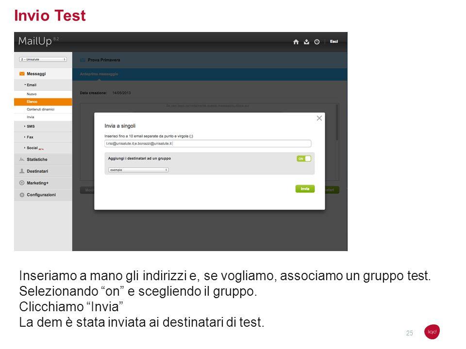 Invio Test Inseriamo a mano gli indirizzi e, se vogliamo, associamo un gruppo test. Selezionando on e scegliendo il gruppo.
