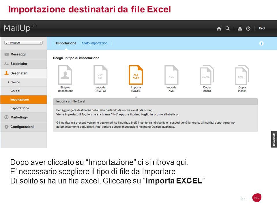 Importazione destinatari da file Excel