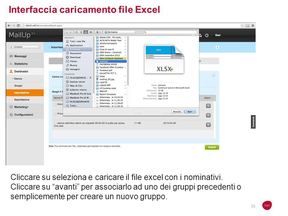 Interfaccia caricamento file Excel