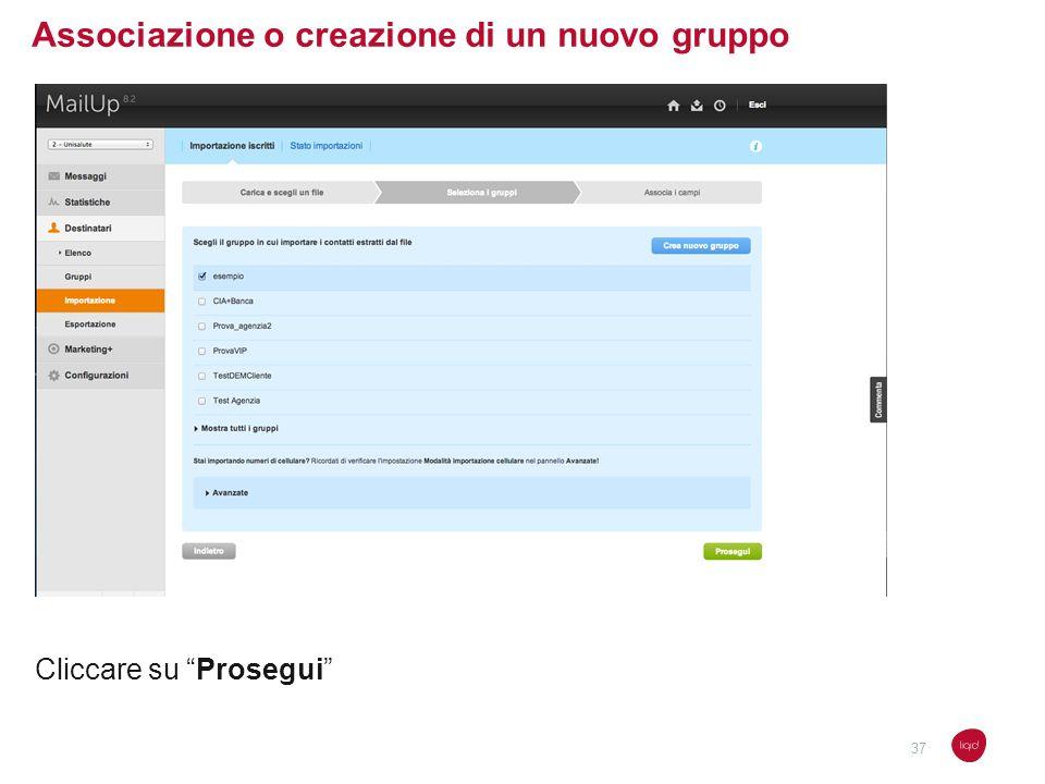Associazione o creazione di un nuovo gruppo