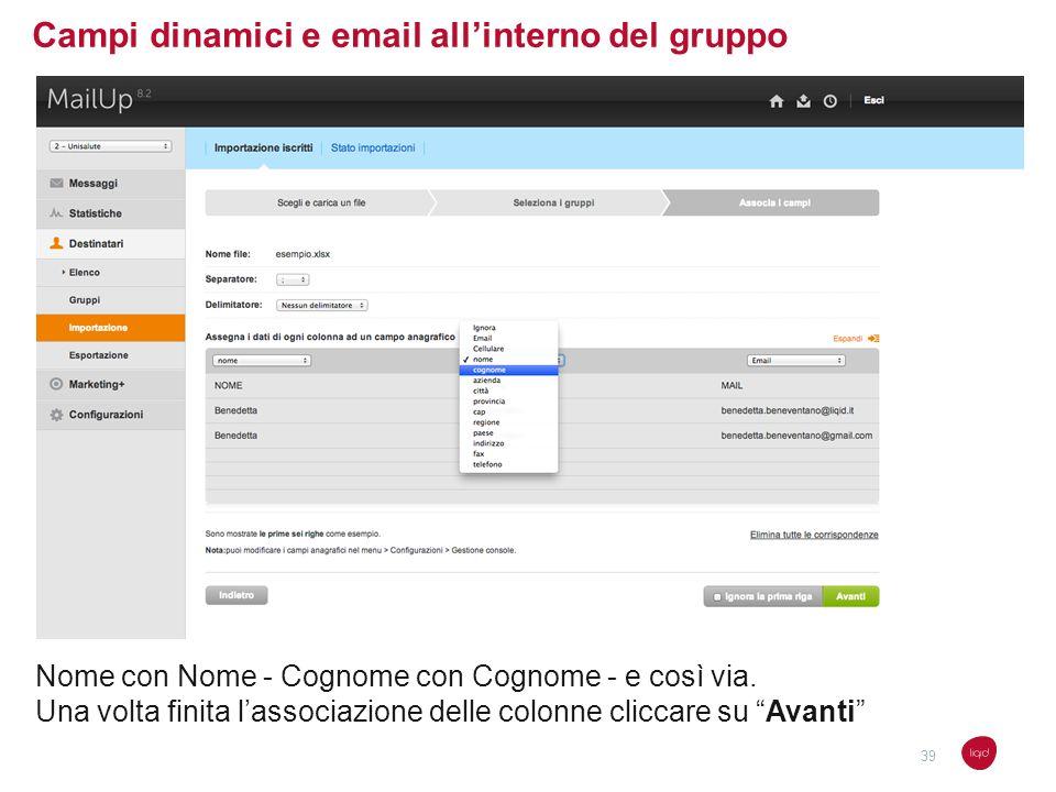 Campi dinamici e email all'interno del gruppo