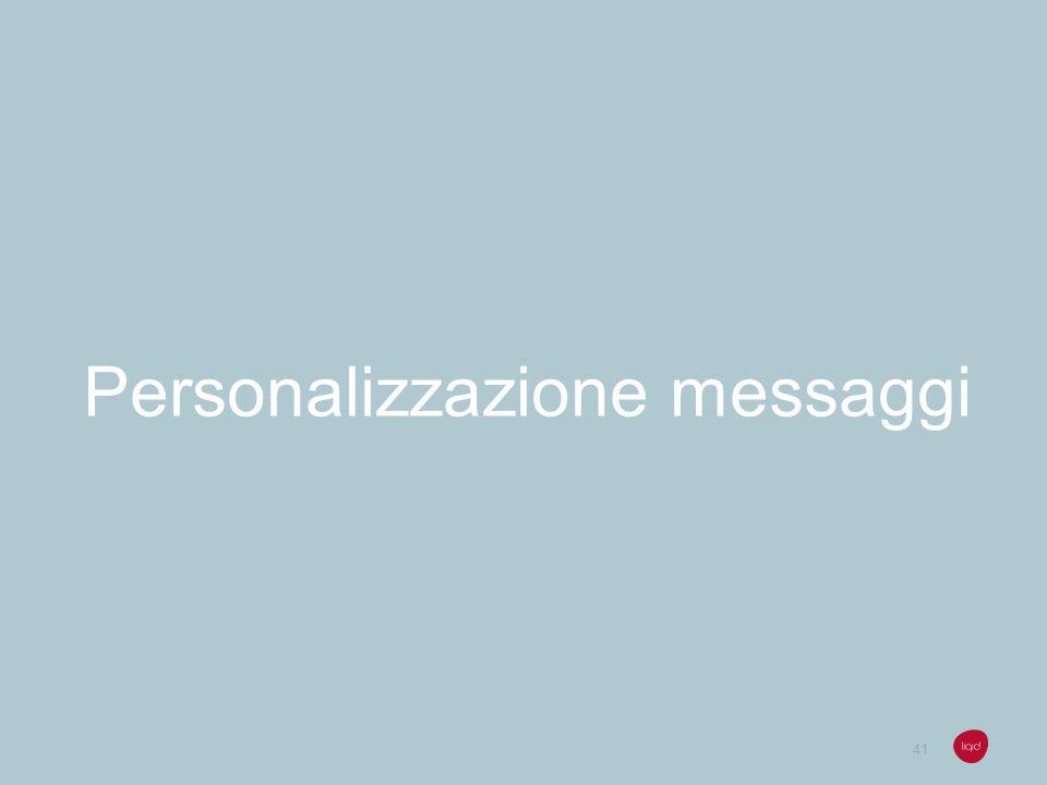 Personalizzazione messaggi
