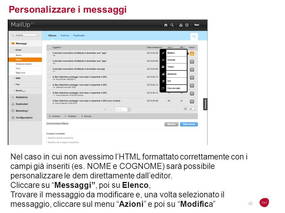 Personalizzare i messaggi