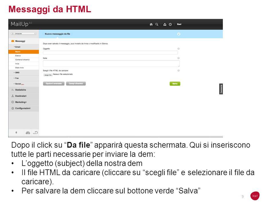 Messaggi da HTML Dopo il click su Da file apparirà questa schermata. Qui si inseriscono tutte le parti necessarie per inviare la dem: