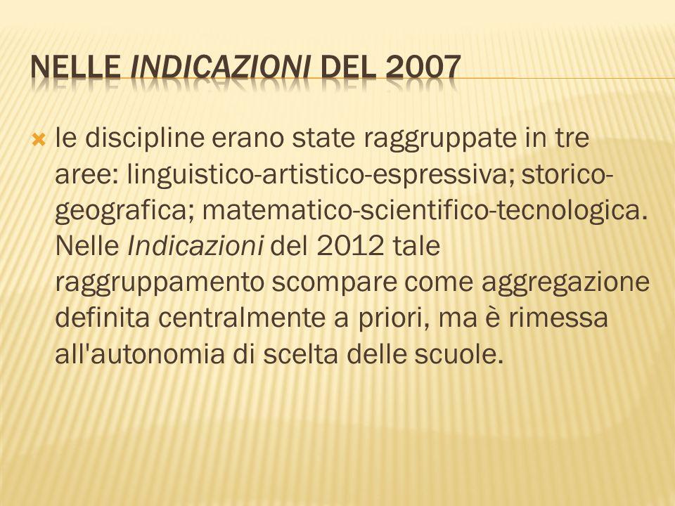 Nelle Indicazioni del 2007