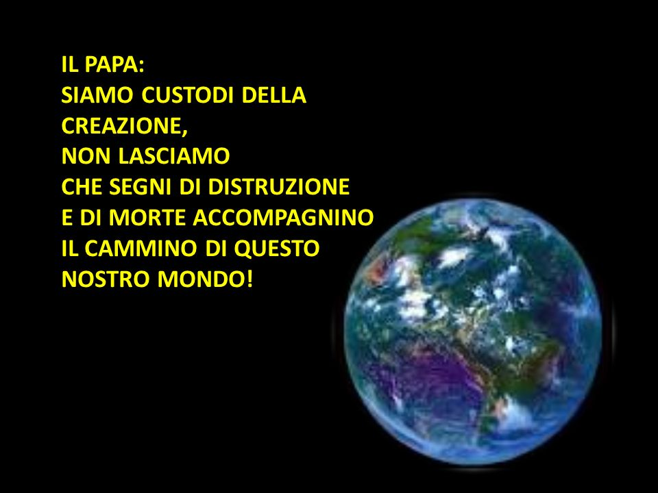 IL PAPA: SIAMO CUSTODI DELLA CREAZIONE, NON LASCIAMO.