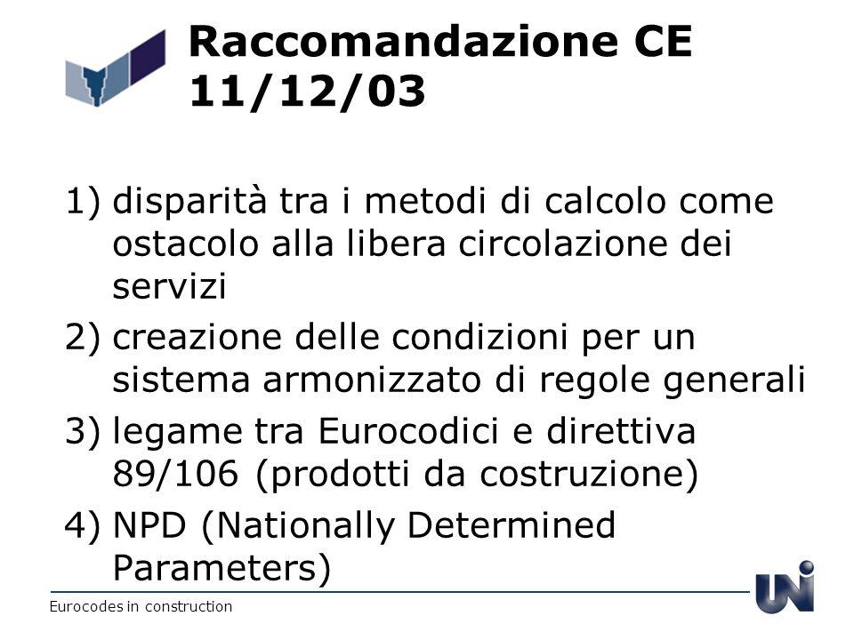 Raccomandazione CE 11/12/03 disparità tra i metodi di calcolo come ostacolo alla libera circolazione dei servizi.