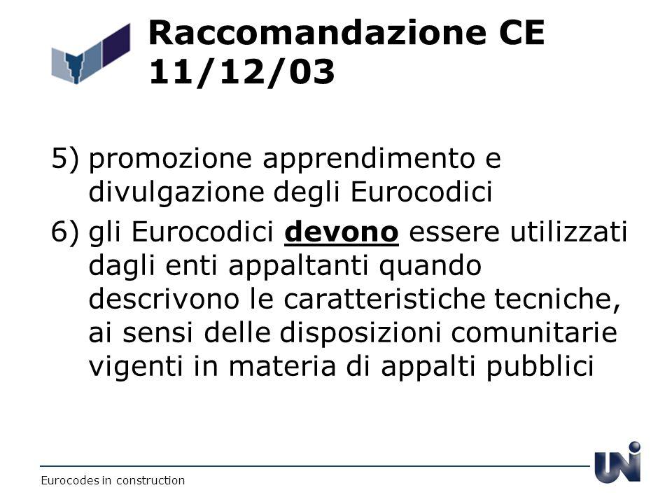 Raccomandazione CE 11/12/03 5) promozione apprendimento e divulgazione degli Eurocodici.