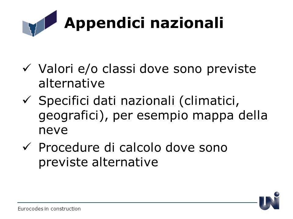 Appendici nazionali Valori e/o classi dove sono previste alternative