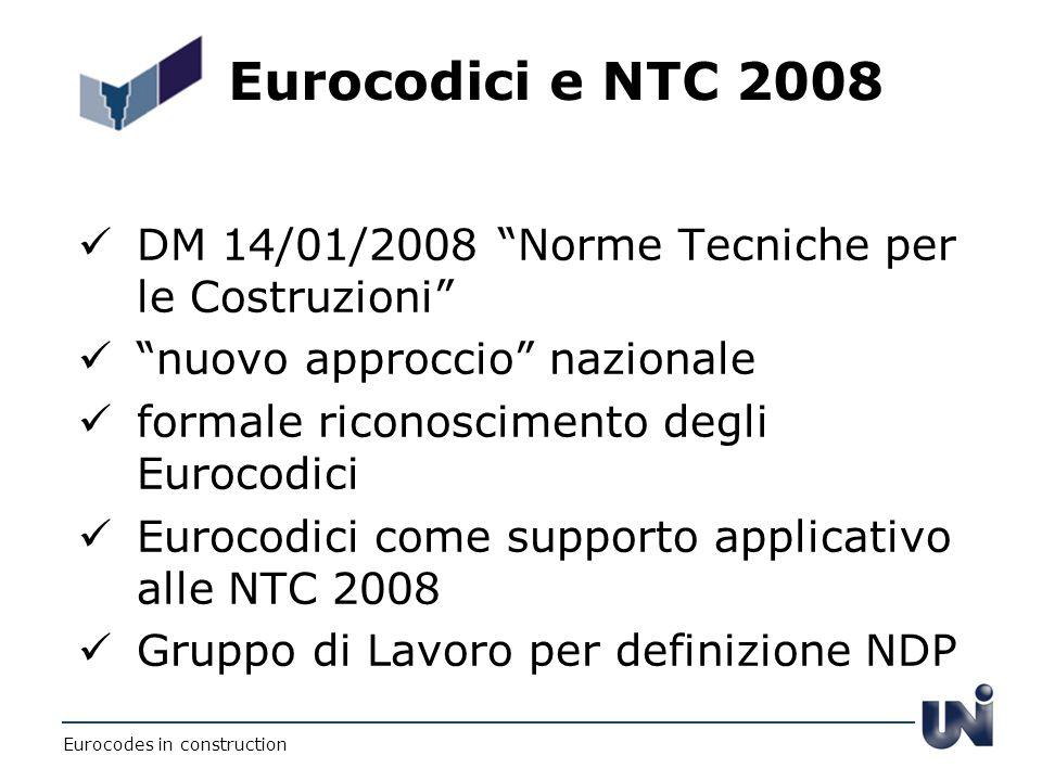 Eurocodici e NTC 2008 DM 14/01/2008 Norme Tecniche per le Costruzioni nuovo approccio nazionale.
