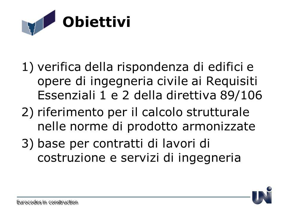 Obiettivi verifica della rispondenza di edifici e opere di ingegneria civile ai Requisiti Essenziali 1 e 2 della direttiva 89/106.