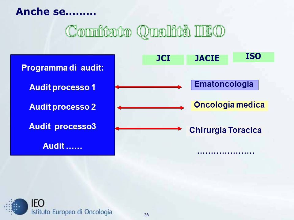 Comitato Qualità IEO Anche se……… ISO Programma di audit: