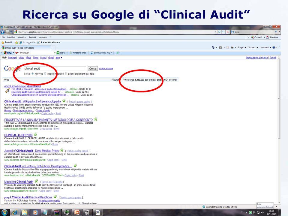 Ricerca su Google di Clinical Audit