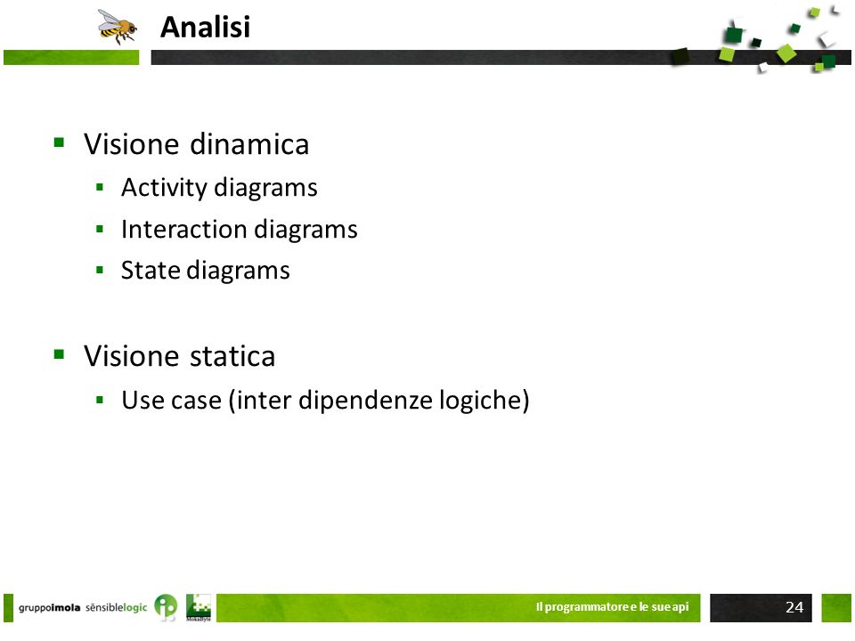 Analisi Visione dinamica Visione statica Activity diagrams