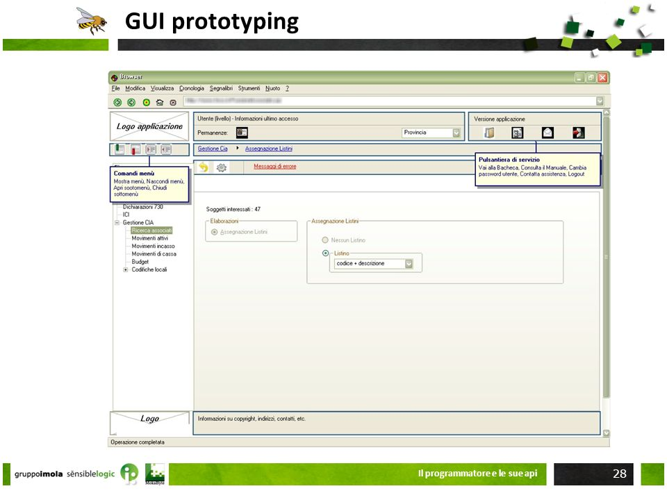 GUI prototyping Il programmatore e le sue api