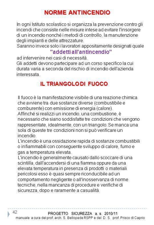 NORME ANTINCENDIO addetti all antincendio IL TRIANGOLO DI FUOCO