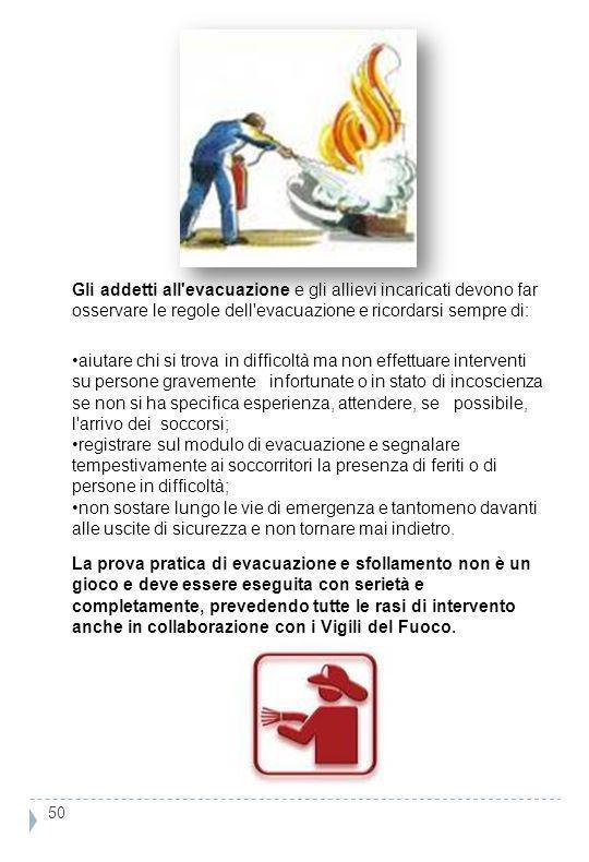 Gli addetti all evacuazione e gli allievi incaricati devono far osservare le regole dell evacuazione e ricordarsi sempre di: