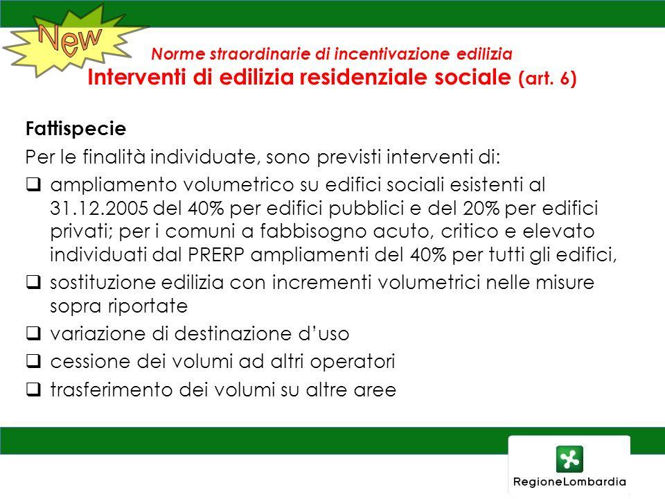 New Norme straordinarie di incentivazione edilizia Interventi di edilizia residenziale sociale (art. 6)