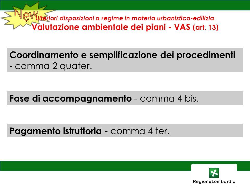 Coordinamento e semplificazione dei procedimenti - comma 2 quater.