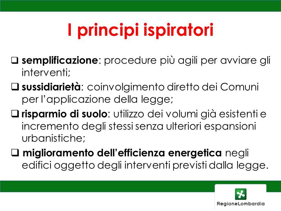I principi ispiratori semplificazione: procedure più agili per avviare gli interventi;