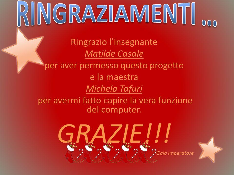 GRAZIE!!! RINGRAZIAMENTI … Ringrazio l'insegnante Matilde Casale