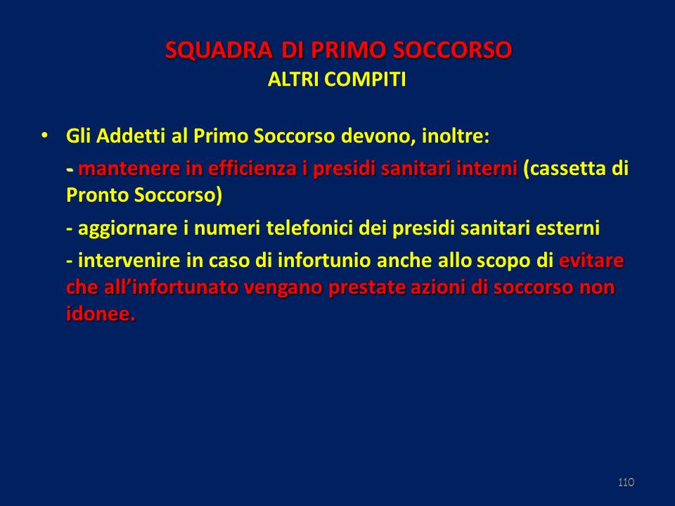 SQUADRA DI PRIMO SOCCORSO ALTRI COMPITI