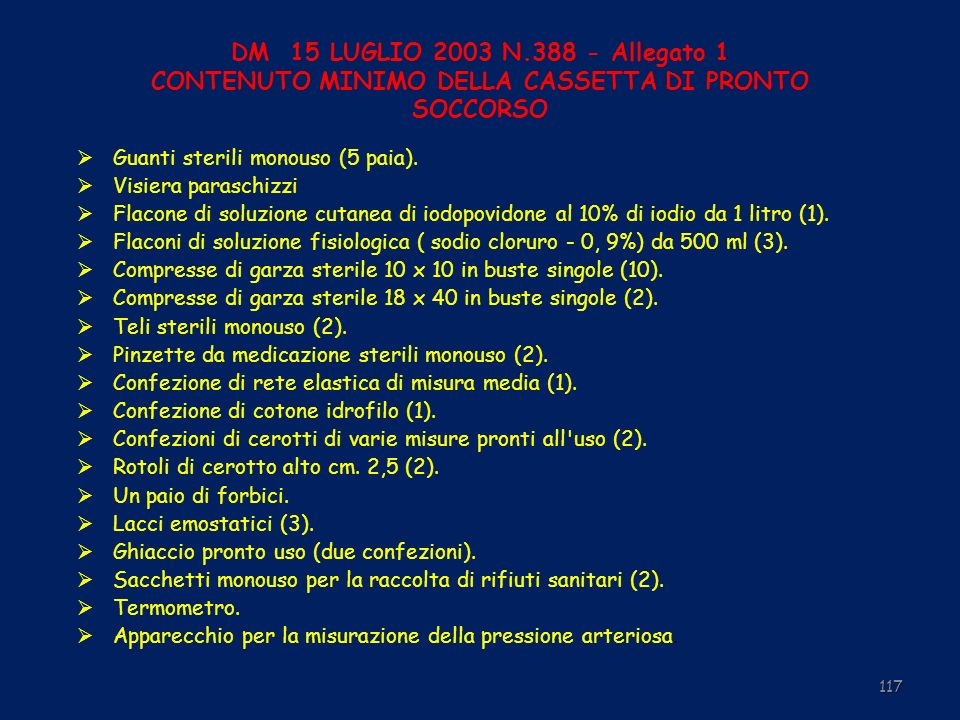 DM 15 LUGLIO 2003 N.388 - Allegato 1 CONTENUTO MINIMO DELLA CASSETTA DI PRONTO SOCCORSO