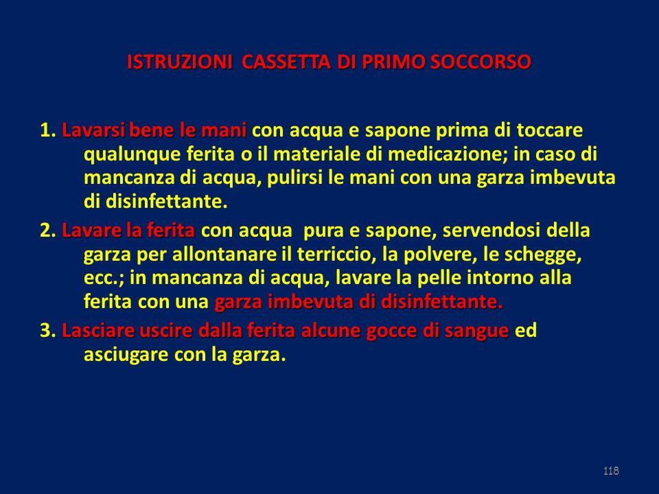 ISTRUZIONI CASSETTA DI PRIMO SOCCORSO