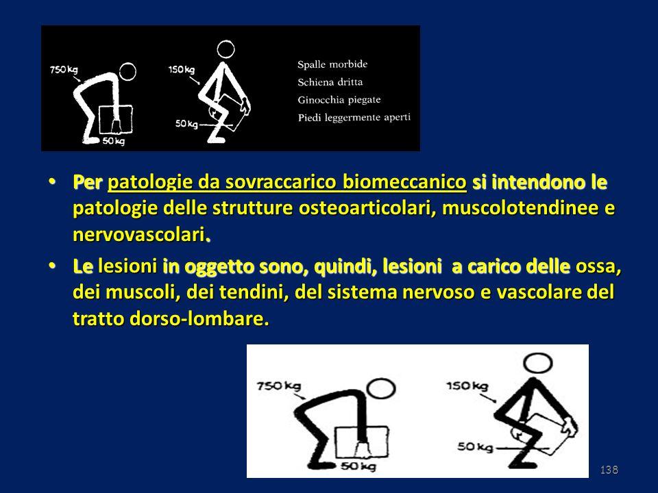 Per patologie da sovraccarico biomeccanico si intendono le patologie delle strutture osteoarticolari, muscolotendinee e nervovascolari.
