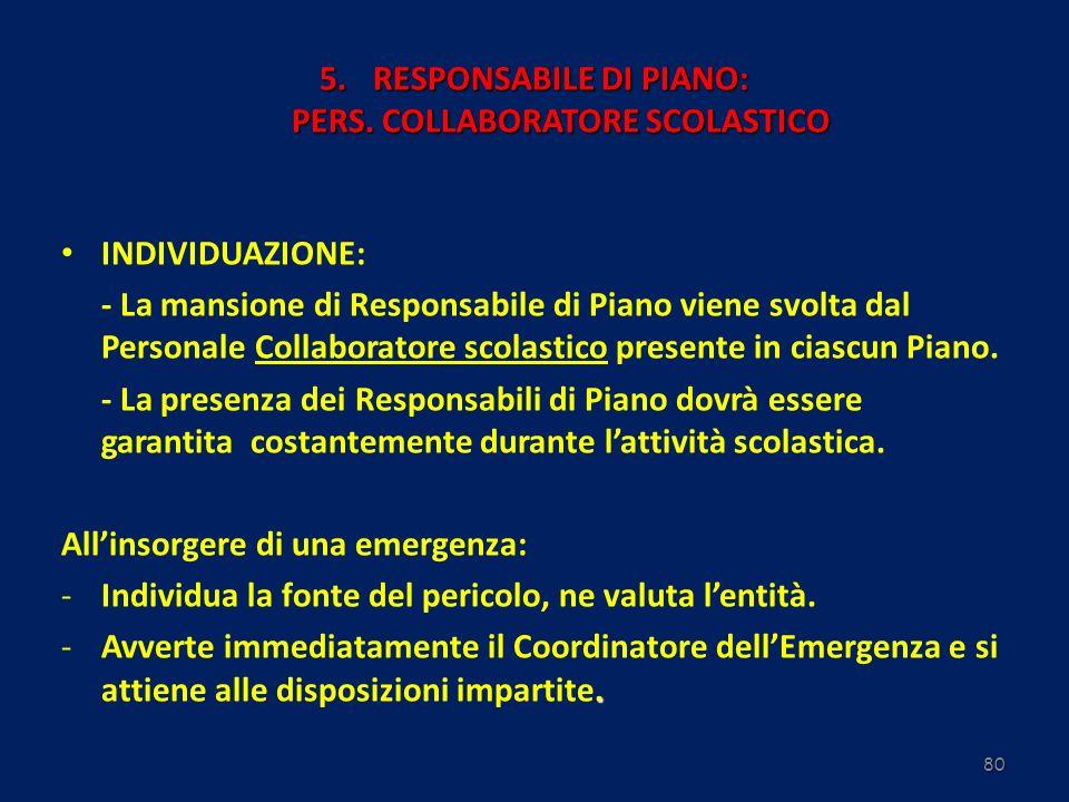 RESPONSABILE DI PIANO: PERS. COLLABORATORE SCOLASTICO