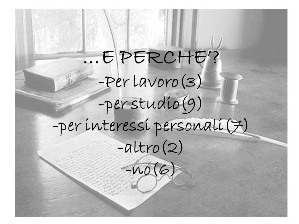 …E PERCHE' -Per lavoro(3) -per studio(9) -per interessi personali(7) -altro(2) -no(6)