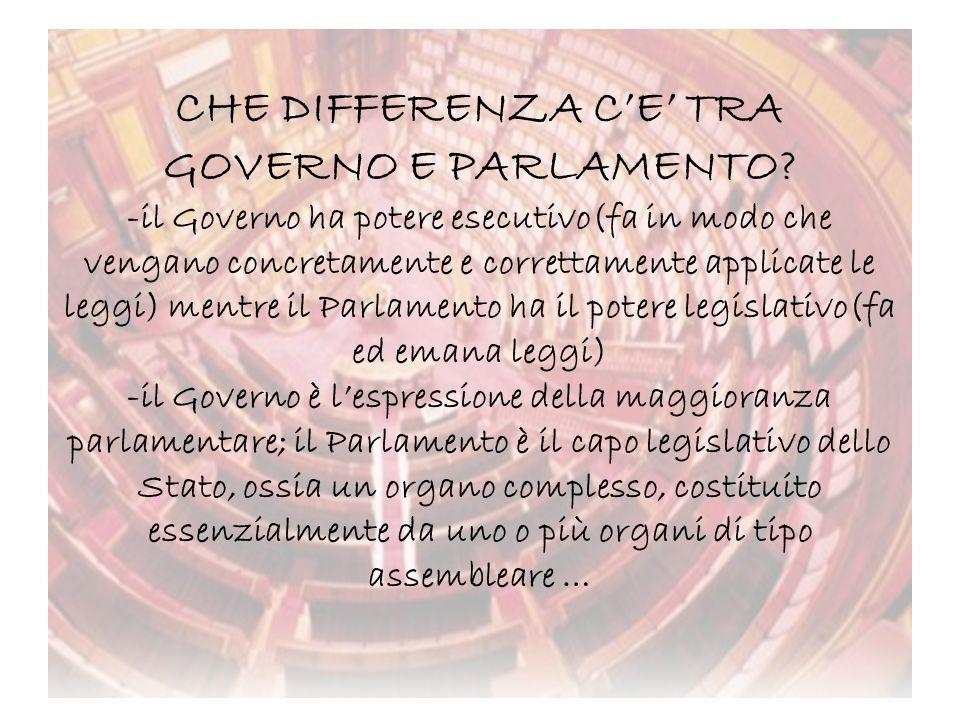 CHE DIFFERENZA C'E' TRA GOVERNO E PARLAMENTO
