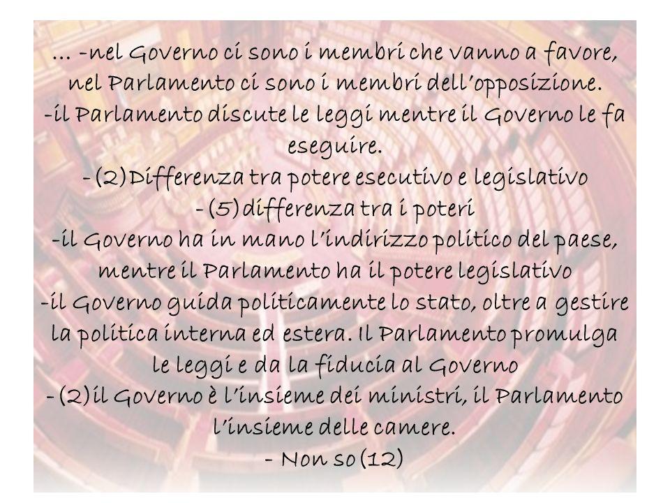 … -nel Governo ci sono i membri che vanno a favore, nel Parlamento ci sono i membri dell'opposizione.