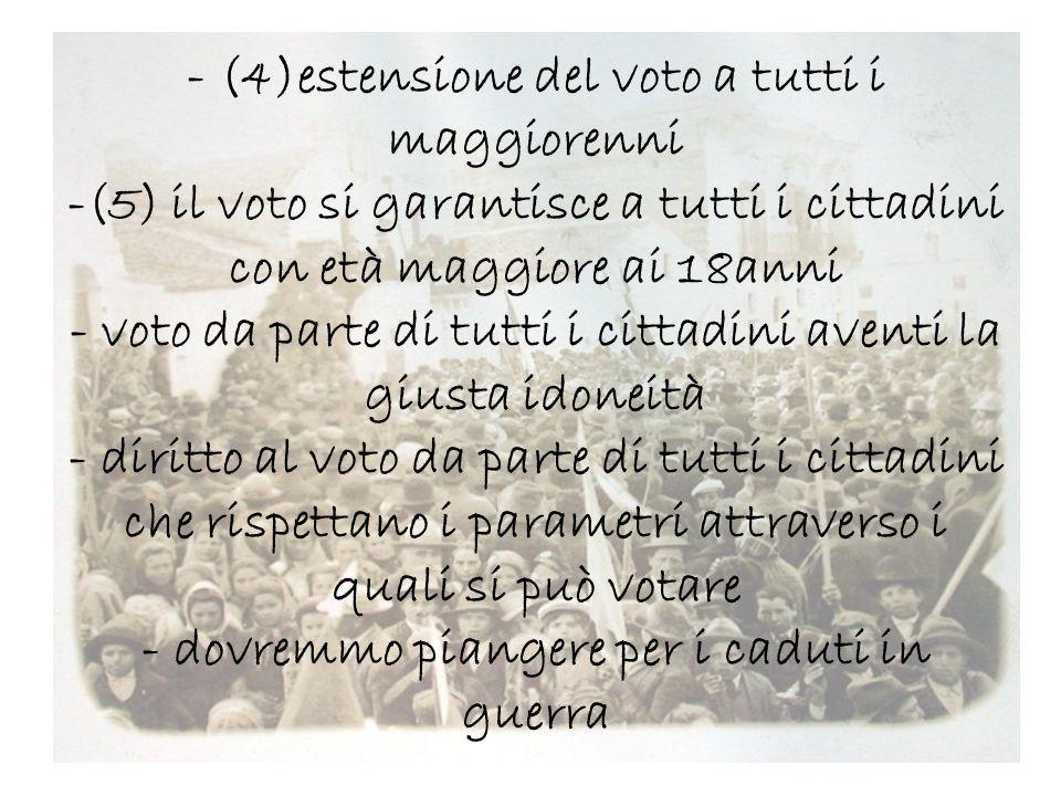- (4)estensione del voto a tutti i maggiorenni -(5) il voto si garantisce a tutti i cittadini con età maggiore ai 18anni - voto da parte di tutti i cittadini aventi la giusta idoneità - diritto al voto da parte di tutti i cittadini che rispettano i parametri attraverso i quali si può votare - dovremmo piangere per i caduti in guerra