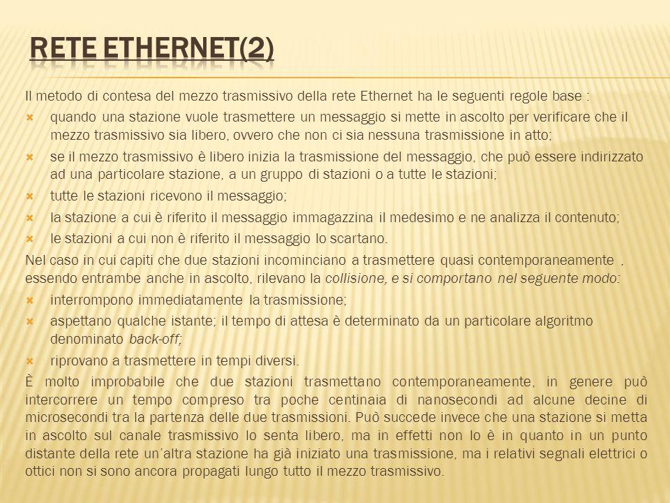 Rete Ethernet(2) Il metodo di contesa del mezzo trasmissivo della rete Ethernet ha le seguenti regole base :