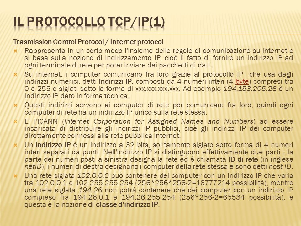 Il protocollo TCP/IP(1)
