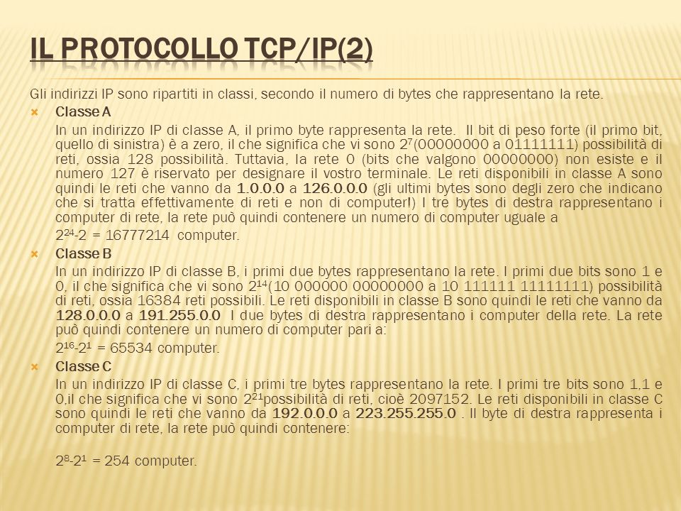 Il protocollo TCP/IP(2)