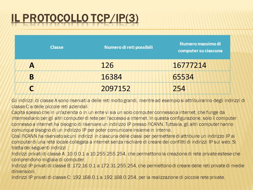Il protocollo TCP/IP(3)