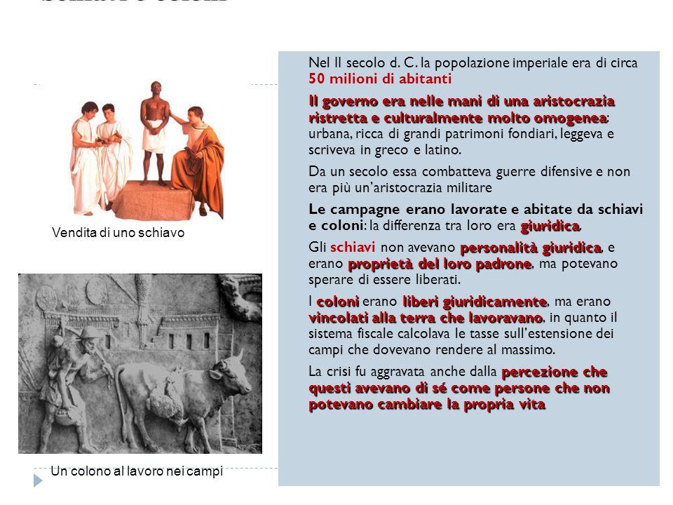 Schiavi e coloni Nel II secolo d. C. la popolazione imperiale era di circa 50 milioni di abitanti.