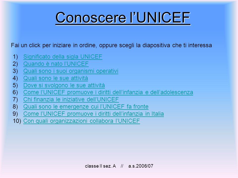 Conoscere l'UNICEF Fai un click per iniziare in ordine, oppure scegli la diapositiva che ti interessa.